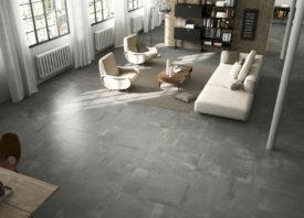 Betonlook vloer binnen modern interieur