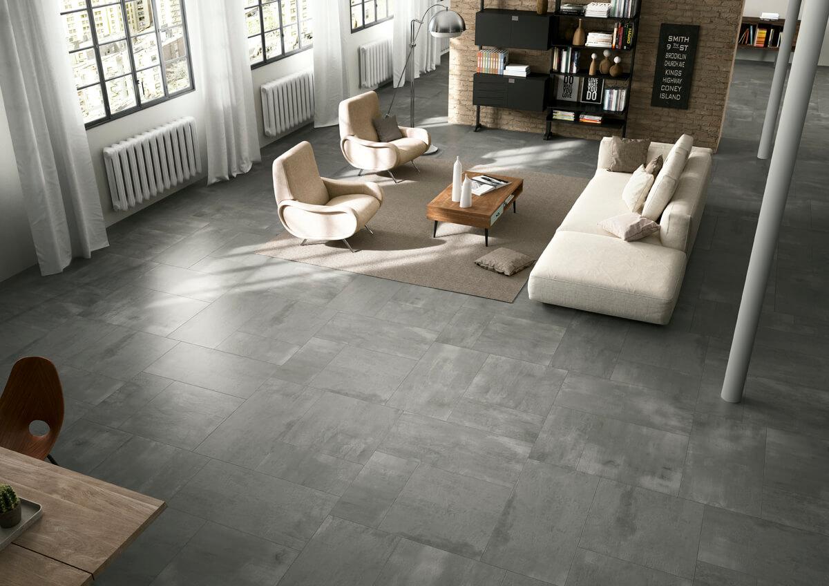 Betonlook vloer binnen modern interieur gilbo tegels