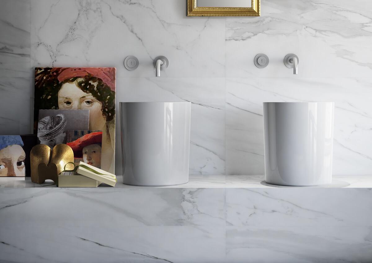 Badkamer Marmer Tegels.Keramische Badkamertegels Met Marmerlook Uniek En Praktisch Gilbo