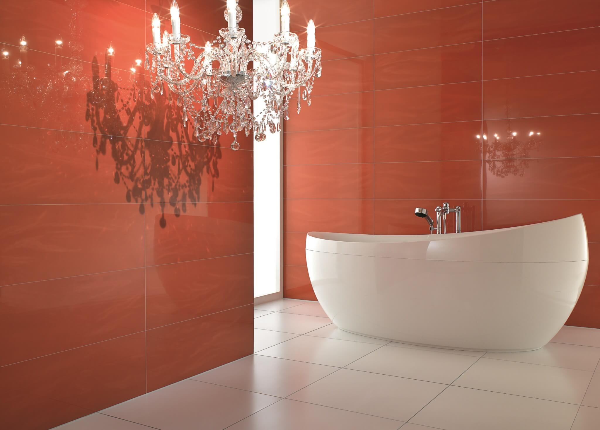 Rode wandtegel voor badkamerrenovatie