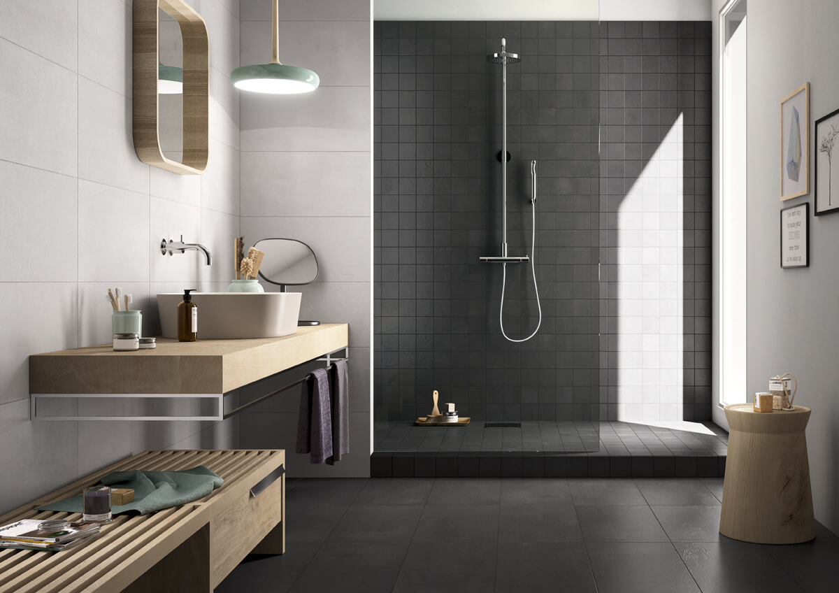 Strakke badkamertegel voor vloer en wand