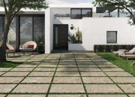 Terrastegel in terrazzo stijl